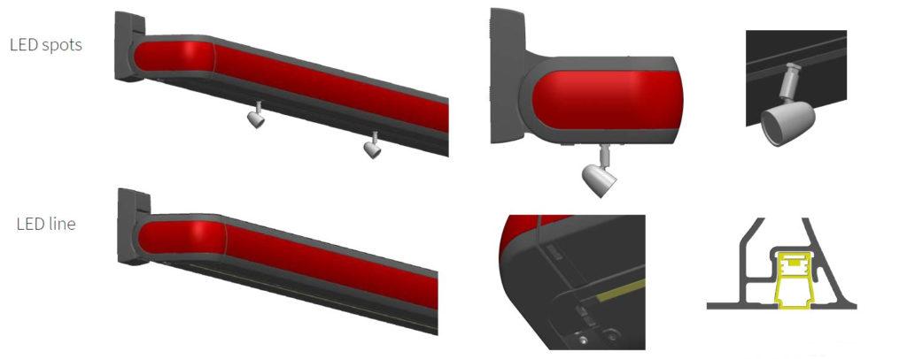 Ukázka integrovaného osvětlení LED